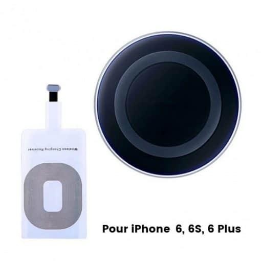 Base + Récepteur pour iPhone 6, 6S, 6 Plus blanc noir