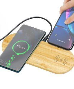 Chargeur double à induction sans fil en bois de bambou