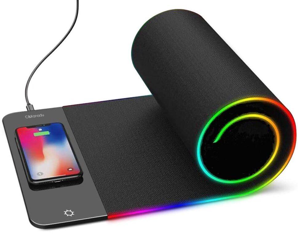 Tapis de souris LED avec chargeur induction intégré